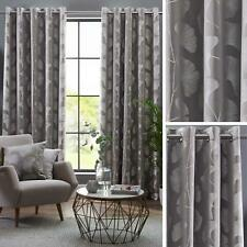 Grey Eyelet Curtains Embroidered Leaf Ready Made Lined Ring Top Curtain Pairs