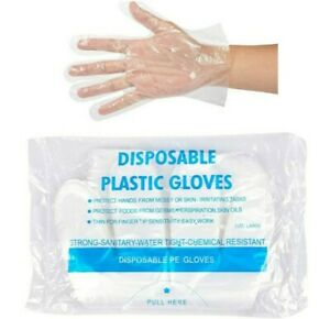 100 x EXTRA STRONG Medical food safe Disposable polythene Smooth gloves UK