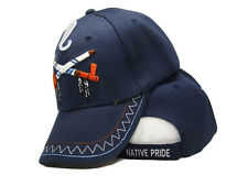 Native Pride Indian American Smoke Peace Pipe Shadow Blue Embroidered Cap Hat