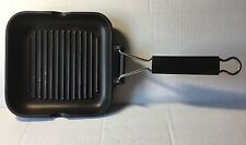 """ALUGUSS Grill Pan 8""""x8"""" Black Cast Aluminum Made in Italy Grillplate Frying Pan"""