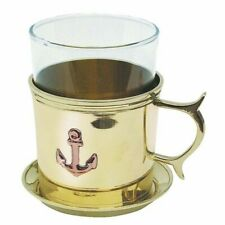Grog Glass, Maritimes Tea Glass Made of Brass with Saucer And Glass Plate