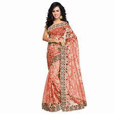 Karishma  Designer's Stylish Bollywood Red Russell Net Saree With Blouse