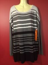 CYRUS Women's Grey Striped Rayon Knit Sweater - Size XXL - NWT