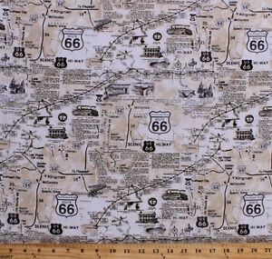 Cotton Vintage Route 66 Map Newspaper Print Travel Fabric Print BTY D578.31