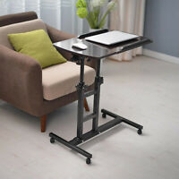 Rolling Laptop Desk Overbed Food Tray Table Height Angle Adjustable Hom