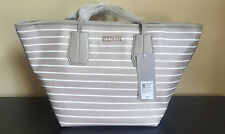 Kenneth Cole 'Nuevo' Champagne White Stripe Summer Handbag Purse Tote
