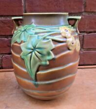 ART NOUVEAU ROSEVILLE TAN LUFFA VASE 9.75 INCHES HIGH 690 OR 696 ORIGINAL LABEL