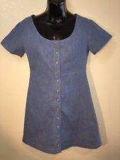 Brandy Melville Denim Blue Button Front Scoop Neck Renee Dress OS NWT