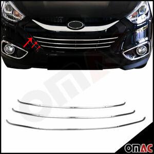 Fits Hyundai Tucson 2010-2015 Chrome Front Bumper Grill Stainless Trim 3 Pcs