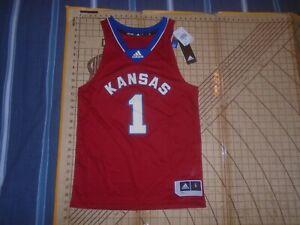 MENS LARGE RED ADIDAS NCAA KANSAS JAYHAWKS #1 BASKETBALL JERSEY - NWT