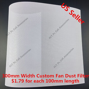 300mm Width Computer PC Dustproof Cooler Fan Custom Cover Dust Filter Mesh White