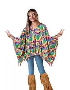 Hippie Girls Child Halloween Costume 60S Poncho Headband Set