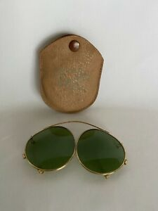 Vintage 1940s Bausch & Lomb Ray-Ban Clip-On Sunglasses with Case Green Lenses
