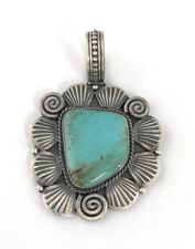 Native American Sterling Silver Navajo Old Look Silver Turquoise Pendant