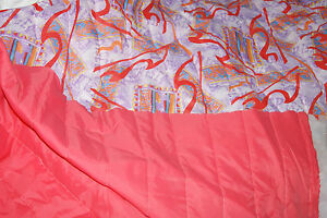 QUILTED FABRIC QUILT PADDED MATERIAL SANDWICH FABRIC PINK GRAF PATTERN POLYESTER