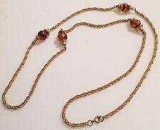 collier sautoir vintage torsadé couleur or perle marbré ambré 88 cm 406