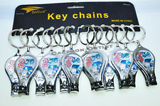 12 PC NAIL CLIPPER KEY CHAINS Party FAVORS Blue RECUERDOS DE Baby Shower Metal