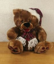 "KIDS OF AMERICA CORP CHRISTMAS BEAR WITH PLAID SCARF AND HAT 10"" PLUSH"