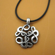 Alchemy Celtic Knot Snake Pewter Pendant Leather Chain Irish Necklace Gift