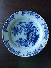 18Th. Century Antique Blue & White Dutch Delft Floral Charger 14 in.