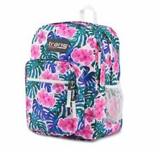 """Trans JanSport 17"""" Supermax Large Backpack - Monstera Vibes Tropical Flowers"""