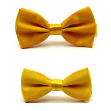 2PC Men Match Boy Kids Child Bow Tie Plain Satin Solid Color Pre-tied Bowtie Set