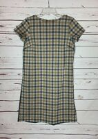 J.Jill Women's XS Extra Small Gray Plaid Gingham Short Sleeve Cute Spring Dress