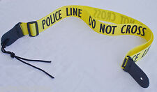 Guitar Strap POLICE LINE Nylon Leather Ends For Acoustic & Electric Made In USA