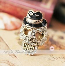 Fashion Jewelry Punk Black Hat Crystal Skull Gold Vetro Adjustable stretch Ring