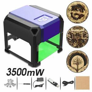 3500mW Mini Desktop Laser Engraver Printer DIY Logo Marking Cutter USB 80x80mm