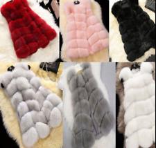 Women's Waistcoat Jacket Warm Gilet Outwear Long Slim Vest Faux Fox Fur Coat