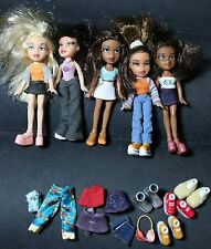 LOT OF FIVE MGA LiL MINI BRATZ DOLLS WITH CLOTHES AND SHOES