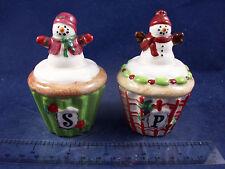 New NIB Snowmen Cupcake Novelty Salt & Pepper Shakers Catherine Holman WG94B23