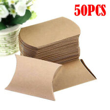 50pcs Kraft Paper Pillow Wedding Party Favor Boxes Candy Cake Candy Gift Boxes