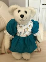 Vintage Handmade Artist One of a Kind Woolen Girl Bear Original Dress 16 Inch