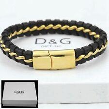 """DG Men's 8.5"""" Stainless-Steel Gold,Black Braided Leather Magnetic.Bracelet,,BOX"""