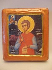 Saint John Neomartyr Greek Orthodox Byzantine Rose Gold Prayer Icon on Pine Wood