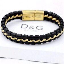 """DG Men's 8"""" Gold Stainless-Steel Black Braided Leather,Magnetic.Bracelet* BOX"""