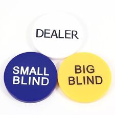 "Dealer Button Small Blind Big Blind 3 Button Combo 2"" Poker Buttons New"