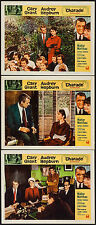 "Posters Charade 1963 Lobby Cards (3) 11""x14"" VF 8.0 Cary Grant Audrey Hepburn"