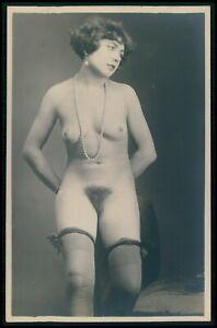 French full nude woman Grundworth black stockings original c1925 photo postcard