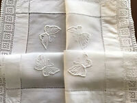 "VINTAGE HAND EMBROIDERED CROCHET "" Butterfly "" WHITE LINEN TABLE CLOTH CENTRE"