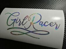SILVER HOLOGRAPHIC Girl Racer Car Sticker Decal JDM Vdub Drift Bling