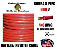 4/0 Cobra X-Flex Battery/Inverter Cable UL Listed Red 600V Cabins, RV, Marine