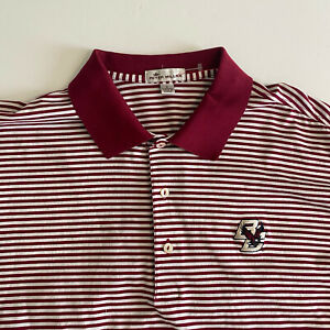 Peter Millar Mens Large Boston College S/S Red Golf Polo Shirt Cotton