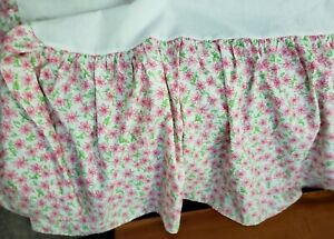 """Lilly Pulitzer Twin Bed Skirt Pink & Green Floral White Background 16"""" Drop NWOT"""