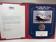 Vintage Nasa Space Shuttle USA Engineer Award Challenge Coin & Official Folder