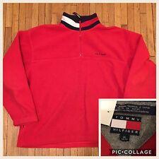 VTG 90's Tommy Hilfiger 1/4 Zip Red Color Block Jacket Pullover Fleece Mens XL