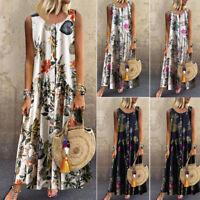 Womens Boho Floral Printed Sleeveless Party Beach Baggy Fashion Long Maxi Dress