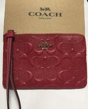 Coach F30049 Signature Embossed Corner Zip Wristlet Hot Pink NWT